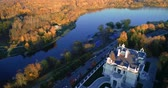 Autumn Embankment and an old noble house. Aerial photography