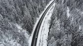 enrolamento : Winter mountain road surrounded by snowy trees, aerial view. Stock Footage