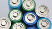 prata : Macro Video of the Batteries Top. Concept of Energy, Power and Recycling. Stock Footage