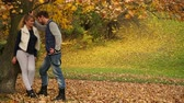 flört : Couple in love enjoying romantic date in park 4K Stok Video