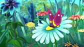 herb : Violet Butterfly Flew on a Flower. Handmade Animation