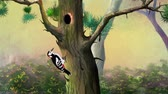 knocking : Woodpecker Knocking on a Pine Tree in a Forest. Handmade animation, motion graphic.