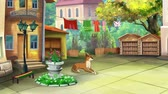 yellow dog year : Yellow Dog Wakes Up in a small Yard in a summer day. Handmade animation, motion graphic.