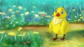 pintinho : Yellow Chicken stands and pecks on a flower. Handmade animation, motion graphic.