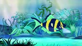 ozub : Blue-yellow Aquarium Fish floats in an aquarium. Handmade animation, looped motion graphic. Dostupné videozáznamy