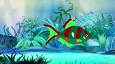 ozub : Red-green Aquarium Fish floats in an aquarium. Handmade animation, looped motion graphic. Dostupné videozáznamy