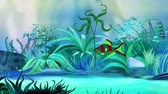 float : One Small Red-Green Fish Aquarium. Handmade animation, looped motion graphic.