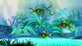 Small Red-green aquarium fishes floats in an aquarium. Handmade animation, looped motion graphic. 무비클립