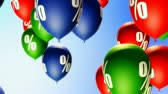 price cut : Balloons with percents symbols (Loop). Seamless loop background. Soft depth of field.