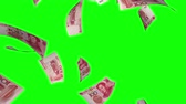 shopping : Falling Yuan (Loop on Greenscreen). Falling Chinese Yuan bills (100 CNY). Perfect for your own background. Seamless loop, no motion blur, clean mask on green screen.