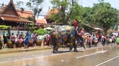 Аюттхая : Songkran Festival is celebrated in a traditional New Year is Day from April 13 to 15, with the splashing water with elephants on April 14, 2015 in Ayutthaya, Thailand. Стоковые видеозаписи