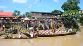 meditation : Thai people join in traditional parade procession lent candle festival for Buddhist Lent Day in waterway by boat at Wat Lat Chado in Aytthaya, Thailand