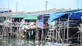 fanghi : Wastewater and pollution and garbage in the sea at Ang Sila Fishing village and seafood Market in Chonburi, Thailand Filmati Stock