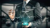conviction : Businessman with Customer Engagement hologram concept Stock Footage