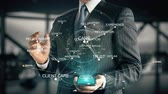 conviction : Businessman with Customer Service hologram concept second version Stock Footage