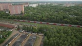 kolej : Electric train traveling by rail. Videography with copter.