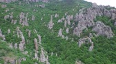 taşlar : The camera flies over the geological formations of the pillars. Stok Video
