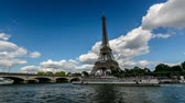 europe : Eiffel Tower and Seine River, Timelapse Video, Paris, France