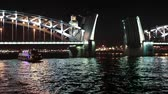 navigation : The Bolsheokhtinsky bascule bridge at night cruise on Neva river, Saint-Petersburg, Russia