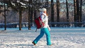 winter : Attractive woman with a backpack walking the winter park, Russia Stock Footage