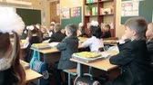 first class : Classroom in elementary school with first-form schoolers are sitting at lesson. September, 1 in Russia Stock Footage