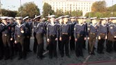jitřenka : ST. PETERSBURG, RUSSIA - SEPT, 21, 2014: Naval College cadets stand in line when vessel Aurora leaves her mooring place for repair works. Cruiser Aurora is a symbol of Revolution of 1917 year Dostupné videozáznamy