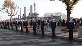 celebration : ST. PETERSBURG, RUSSIA - SEPT, 21, 2014: People are on Cruiser Aurora mooring place when ship is ready to tugging for repair works. The Cruiser Aurora is a symbol of Revolution of 1917 year