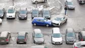 esmagado : Camera review of road accident place with two front broken cars and police, Russia