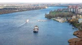 aerial : Neva river with ship on it and embankment along in Saint-Petersburg, Russia