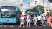 shuttle : Main bus station Kato in Paphos city. Passengers getting on the bus. Cyprus island Stock Footage