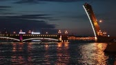 dark : The opened Trinity Bridge, Saint-Petersburg, Russia. Night view. White nights
