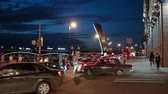 dark : Night city road traffic after Trinity Bridge opening, Saint-Petersburg, Russia
