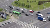vista : Cars intersection on Constitution Square in St. Petersburg, Russia. Starting moving at green light