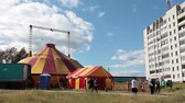 тент : Mobile circus marquees is in provincial town on circa August 2012, in Segezha, Karelia, Russia Стоковые видеозаписи