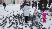 pombo : Small children run after a flock of pigeons in the city in winter. Russia Vídeos