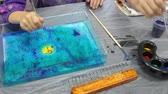 vodní : Ebru drawing place with child making picture on water