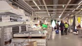 furniture : SAINT-PETERSBURG, RUSSIA - CIRCA JAN, 2015: Shelves with goods are in Ikea store showroom. Ikea multinational group is the worlds largest furniture retailer. Russian store