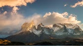 torres : The movement of clouds over the towers of Cuernos. Parque Torres del Paine, Patagonia