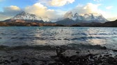 granito : Lake Pehoe at dawn. Torres del Paine, Chile
