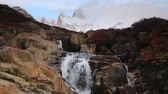 спидвей : Beautiful view with waterfall and Fitz Roy mountain. Patagonia Стоковые видеозаписи