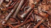alicate : Old vintage hand tools on wooden background Stock Footage
