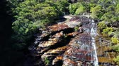 naturalistic : Small river and waterfall in the mountains of the overgrown forest. Blue mountains national park. Aerial top view.