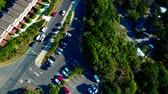 naturalistic : Parking in a small town. Forest. Beach. Aerial top view