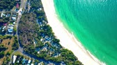 naturalistic : Beach in a small town. Aerial top view. Forest. Beach