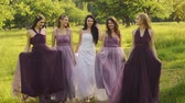 groomsmen : Beautiful bride and bridemaids in purple dresses walking in the park or garden holding hands and laughing in the evening.