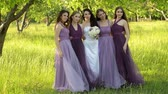 besties : Emotional bride and bridesmaids talking and smiling. Caucasian girls in purple dresses posing outdoors. Stock Footage