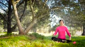 soul searching : Young caucasian woman sitting under a tree and meditating, selective focus