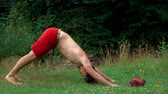 The guy does yoga on the grass against the trees. Yoga classes in nature, in the Park, on the street in the summer. 動画素材