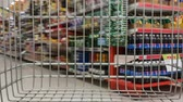 shopping cart in supermarket moving through, time lapse Dostupné videozáznamy