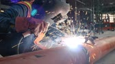 electrodes : welder working in construction site Stock Footage